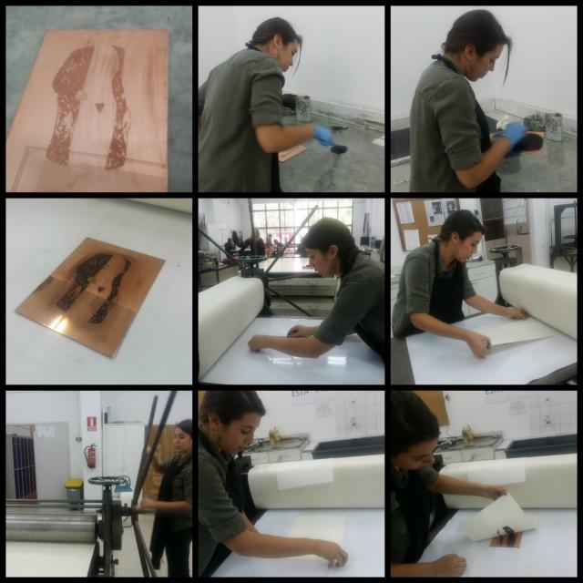 Cristina en el proceso de creación de un estampado.