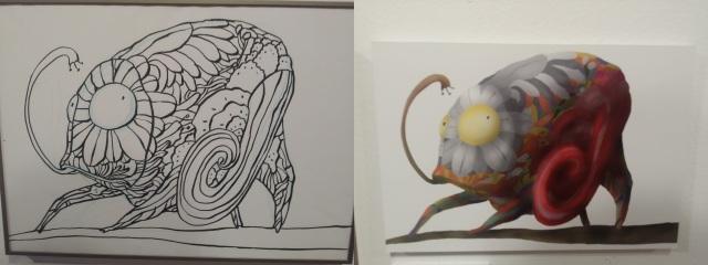 Proceso del dibujo, desde su boceto artesanal hasta su posterior digitalización y cromatización.